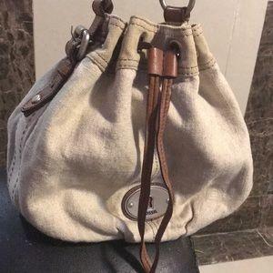 Fossil Bucket Drawstring Canvas Hobo Bag